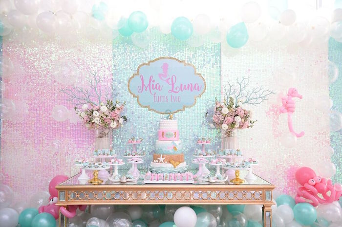 Dessert Table from a Mermaid Oasis Themed Birthday Party via Kara's Party Ideas | KarasPartyIdeas.com (55)