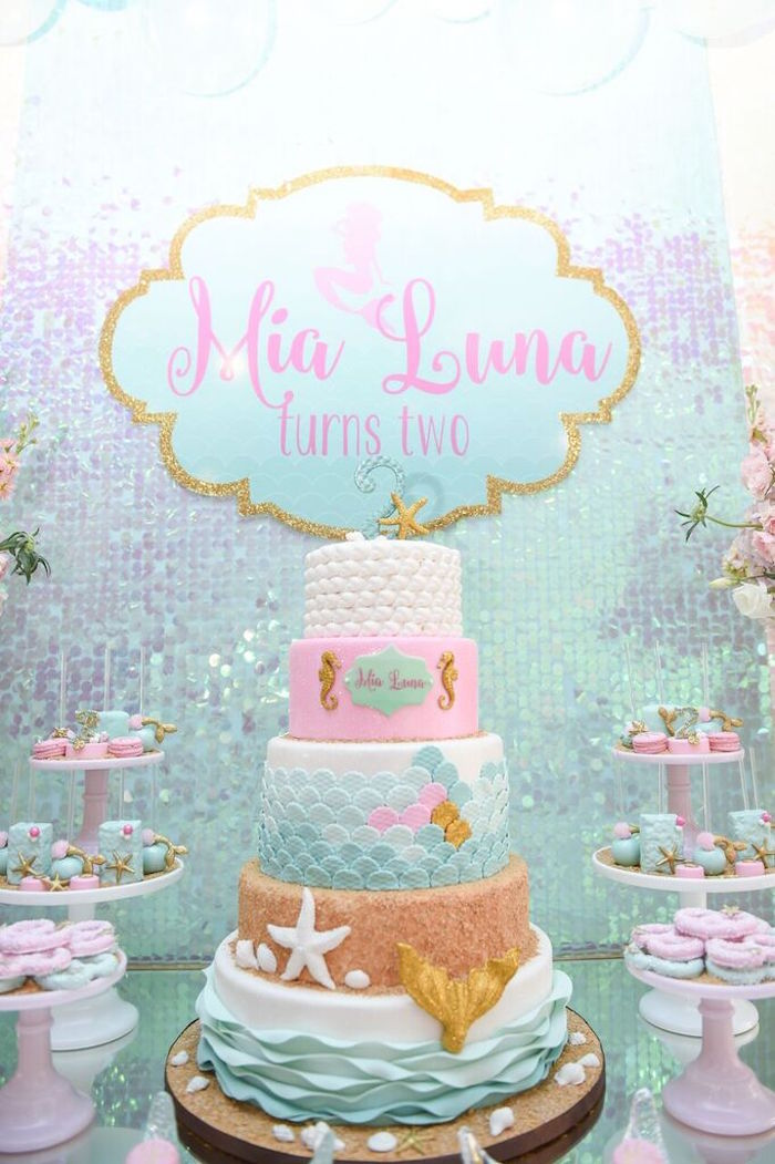 Cake from a Mermaid Oasis Themed Birthday Party via Kara's Party Ideas | KarasPartyIdeas.com (54)