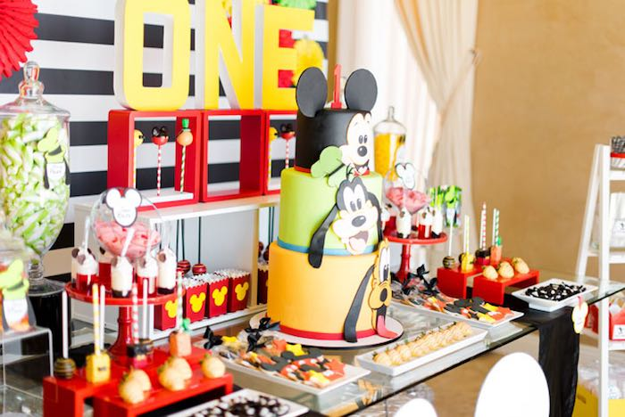 Side-view of a Dessert Table from a Mickey & Friends Birthday Party via Kara's Party Ideas | KarasPartyIdeas.com (15)