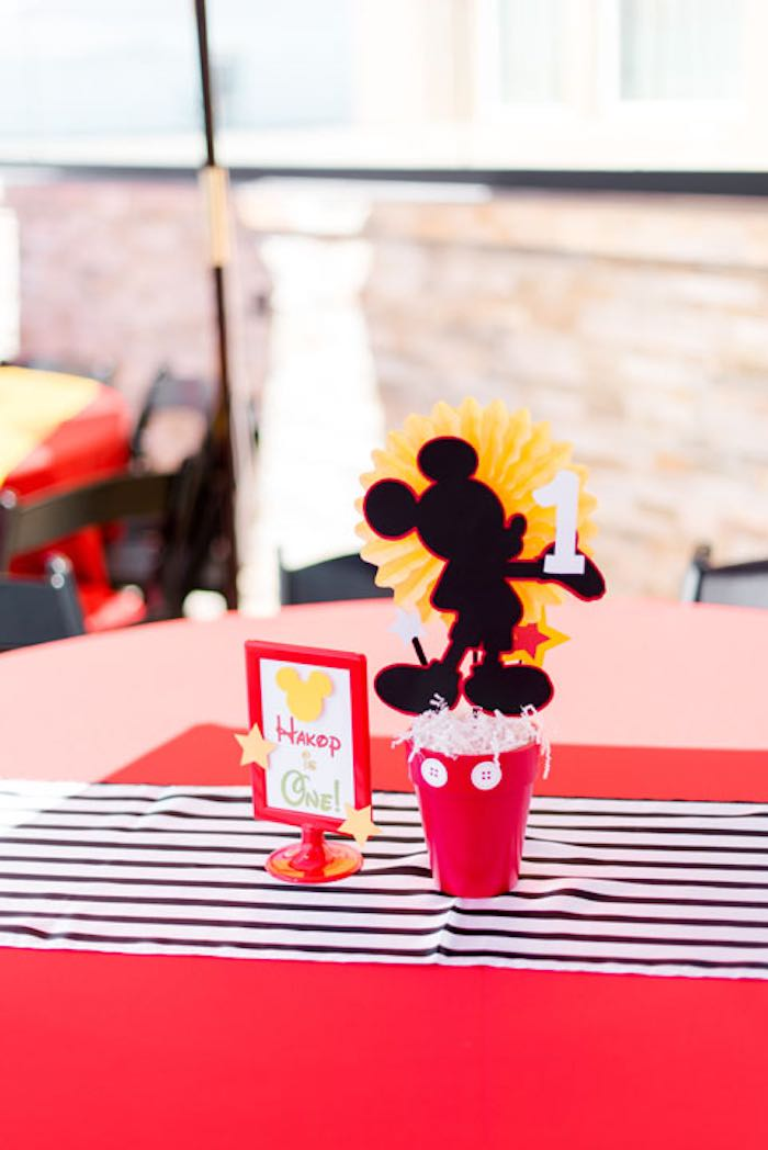 Table Centerpieces from a Mickey & Friends Birthday Party via Kara's Party Ideas | KarasPartyIdeas.com (10)