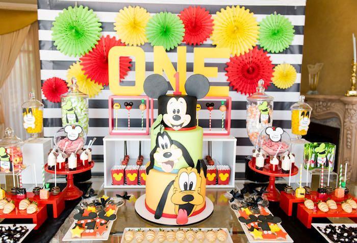 Dessert Table from a Mickey & Friends Birthday Party via Kara's Party Ideas | KarasPartyIdeas.com (7)
