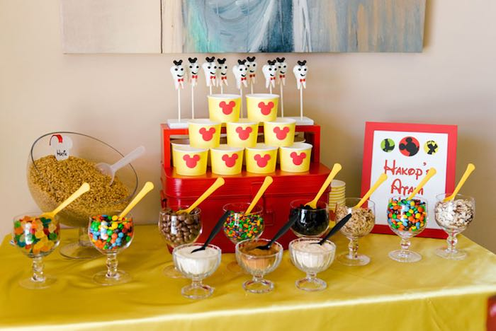 Toppings Table from a Mickey & Friends Birthday Party via Kara's Party Ideas | KarasPartyIdeas.com (6)