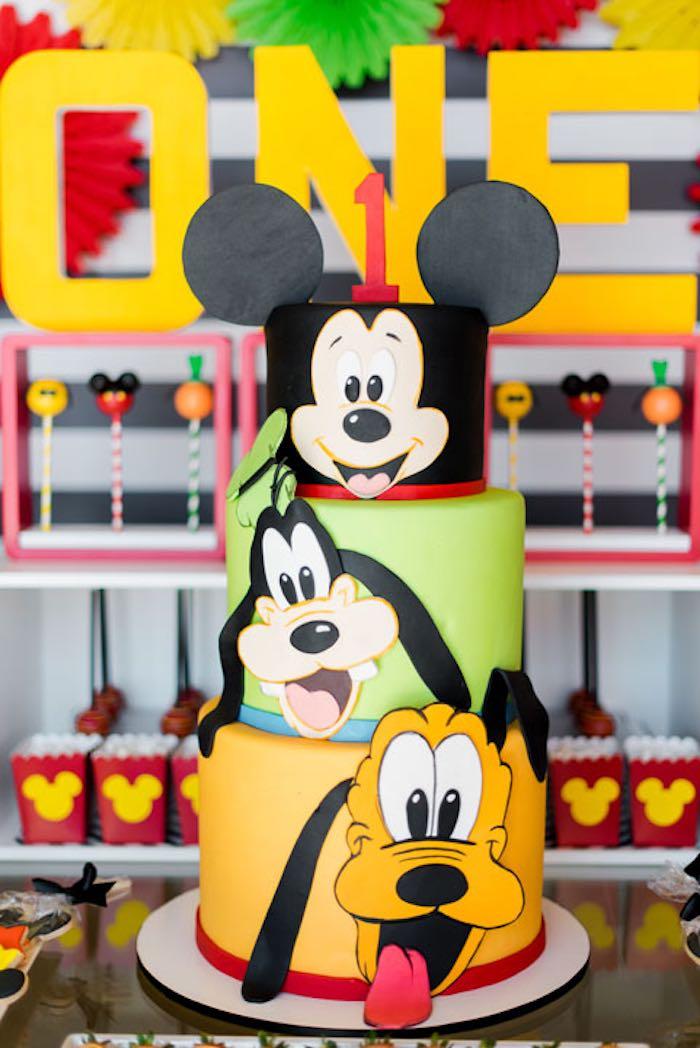 Cake from a Mickey & Friends Birthday Party via Kara's Party Ideas | KarasPartyIdeas.com (28)