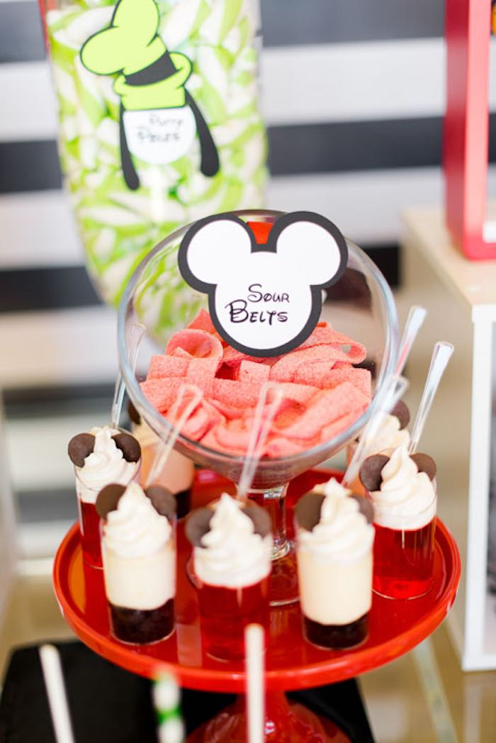Sour Belts + Dessert Cups from a Mickey & Friends Birthday Party via Kara's Party Ideas | KarasPartyIdeas.com (22)