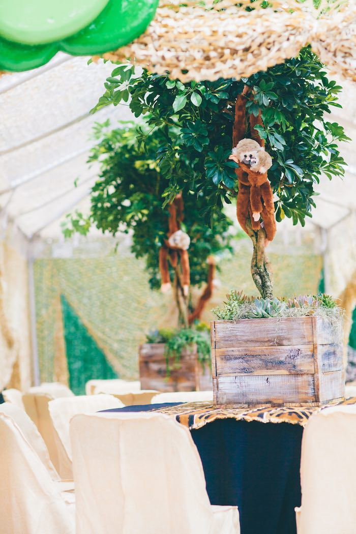 Monkeys Hung above Guest Tables from a Safari Birthday Party via Kara's Party Ideas | KarasPartyIdeas.com (14)