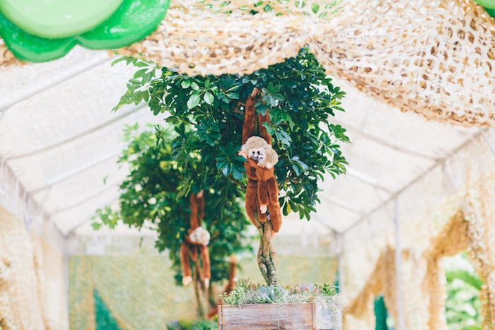 Plush Monkeys Hanging from Vines from a Safari Birthday Party via Kara's Party Ideas | KarasPartyIdeas.com (13)