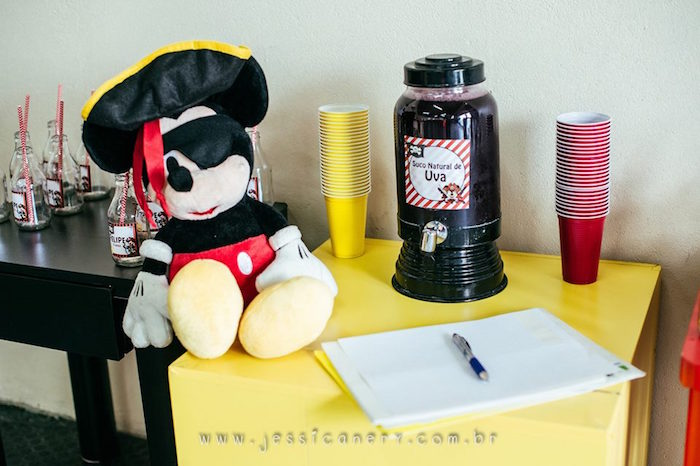 Drink Table from a Mickey Mouse Pirate Themed Birthday Party via Kara's Party Ideas - KarasPartyIdeas.com (31)