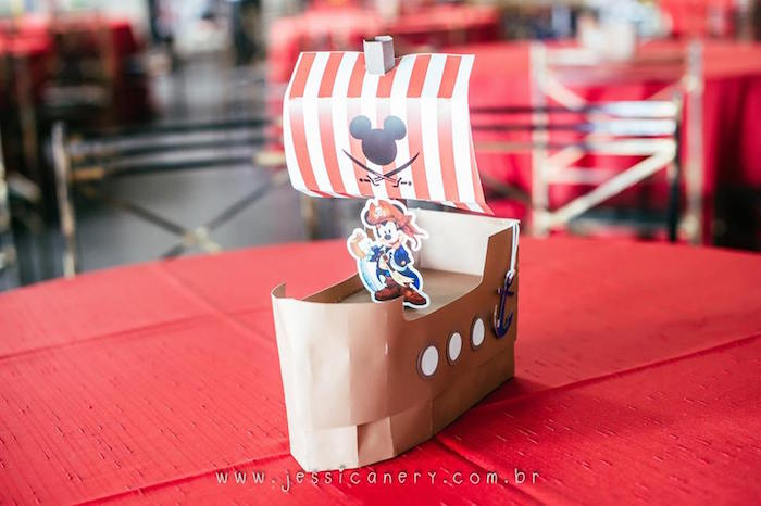 Pirate Ship, Guest Table Centerpiece from a Mickey Mouse Pirate Themed Birthday Party via Kara's Party Ideas - KarasPartyIdeas.com (27)