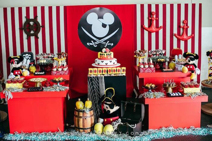 Dessert Table from a Mickey Mouse Pirate Themed Birthday Party via Kara's Party Ideas - KarasPartyIdeas.com (8)