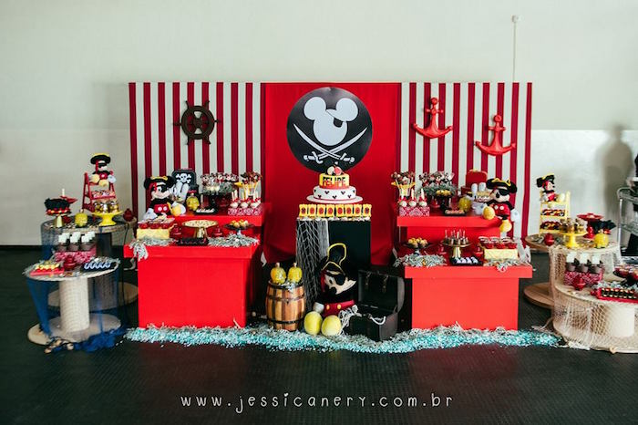 Head Table from a Mickey Mouse Pirate Themed Birthday Party via Kara's Party Ideas - KarasPartyIdeas.com (5)