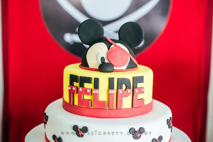 Cake from a Mickey Mouse Pirate Themed Birthday Party via Kara's Party Ideas - KarasPartyIdeas.com (48)