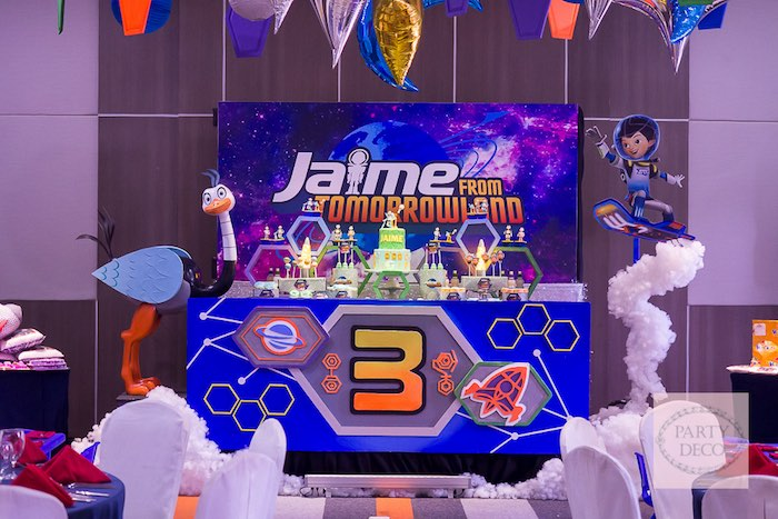 Full-view of the Dessert Table from a Miles from Tomorrowland Birthday Party via Kara's Party Ideas KarasPartyIdeas.com (21)