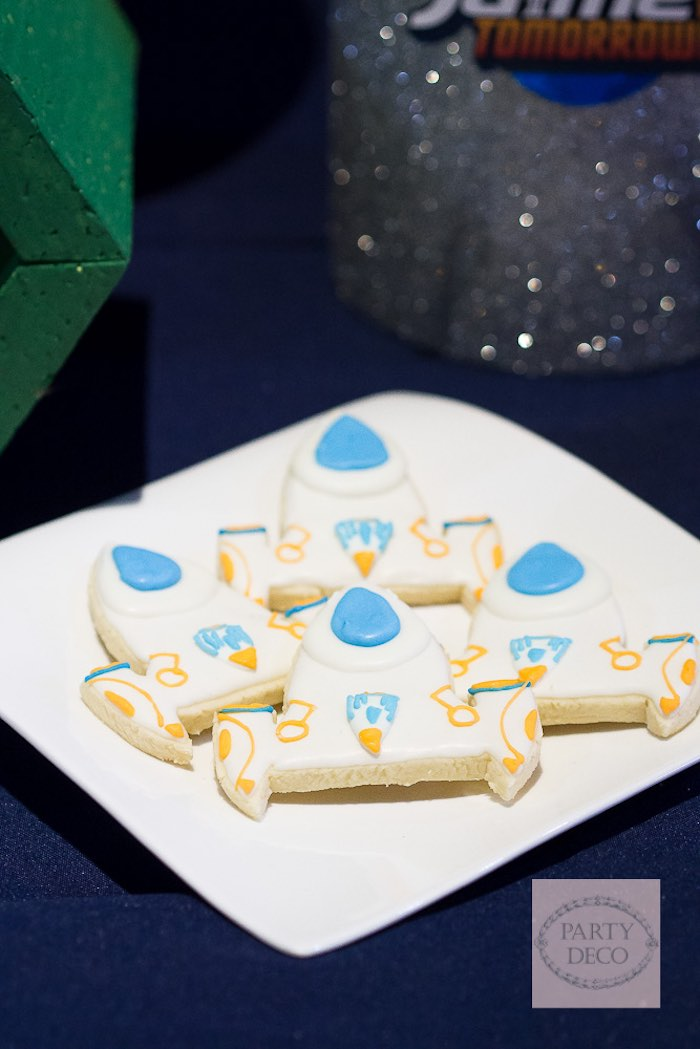 Spaceship Cookies from a Miles from Tomorrowland Birthday Party via Kara's Party Ideas KarasPartyIdeas.com (8)