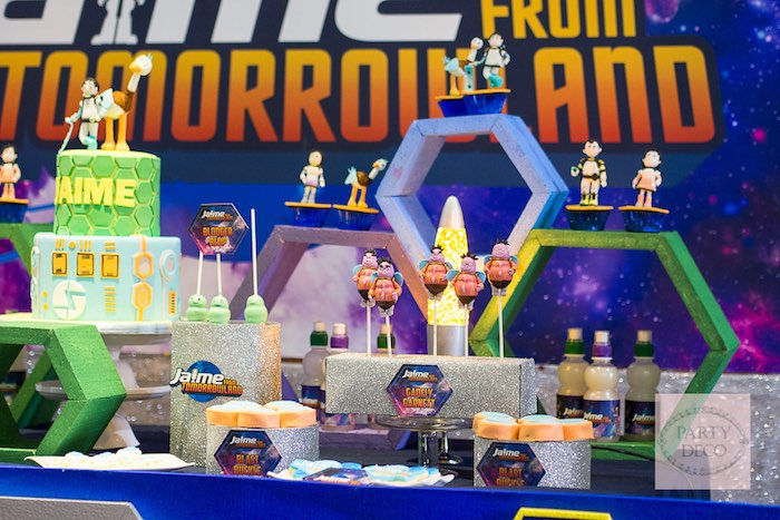 Sweet Table Details from a Miles from Tomorrowland Birthday Party via Kara's Party Ideas KarasPartyIdeas.com (6)