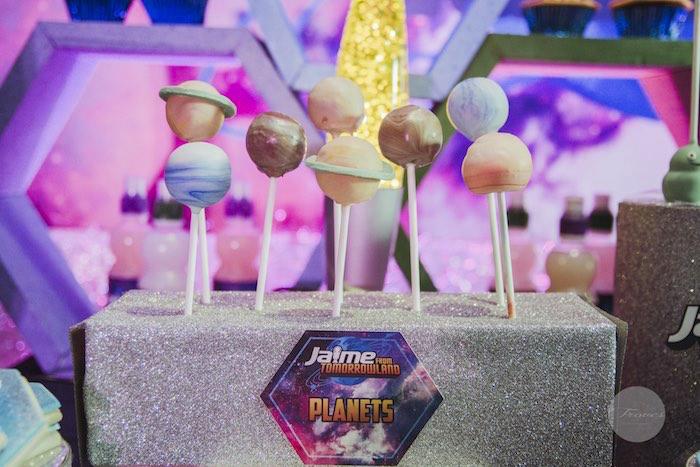 Planet Cake Pops from a Miles from Tomorrowland Birthday Party via Kara's Party Ideas KarasPartyIdeas.com (34)