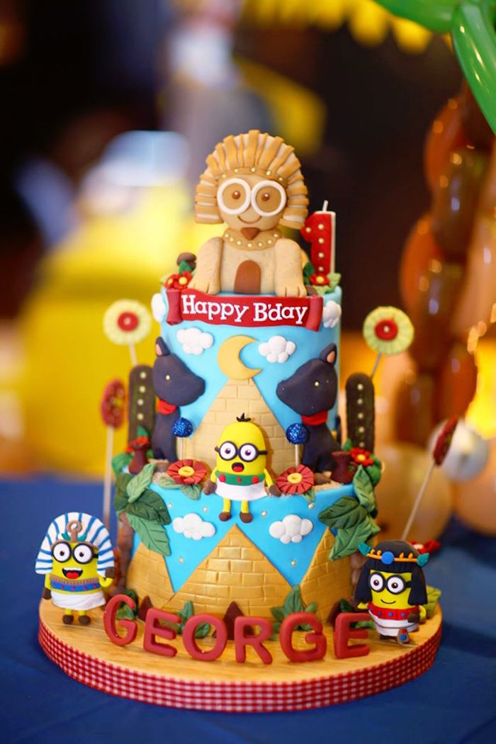 Cake from a Minions in Egypt Themed Birthday Party via Kara's Party Ideas | The Place for All Things Party! KarasPartyIdeas.com (11)