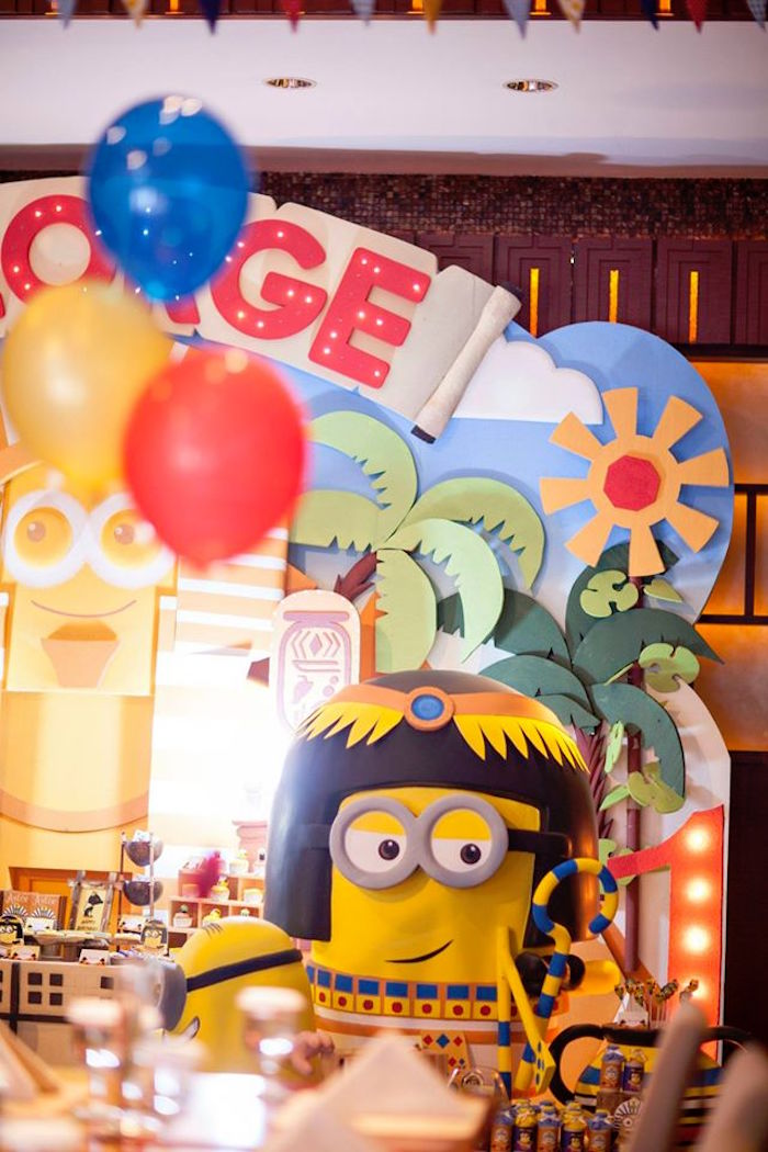 Minion Prop + Party Backdrop from a Minions in Egypt Themed Birthday Party via Kara's Party Ideas | The Place for All Things Party! KarasPartyIdeas.com (27)
