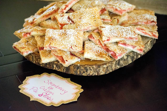 Strawberry & Cream Pie Slabs from a Mint, Pink + Gold Birthday Party via Kara's Party Ideas KarasPartyIdeas.com (48)