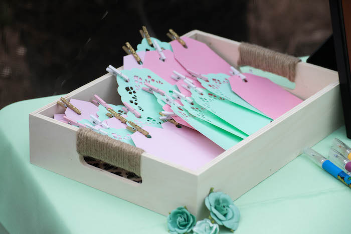 Cards for Wishes from a Mint, Pink + Gold Birthday Party via Kara's Party Ideas KarasPartyIdeas.com (40)