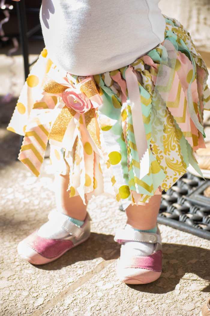 Birthday Girl's Ribbon Tassel Skirt from a Mint, Pink + Gold Birthday Party via Kara's Party Ideas KarasPartyIdeas.com (58)