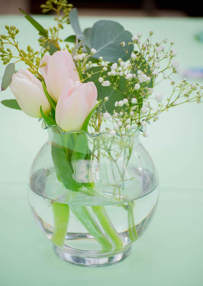 Floral Arrangement from a Mint, Pink + Gold Birthday Party via Kara's Party Ideas KarasPartyIdeas.com (39)