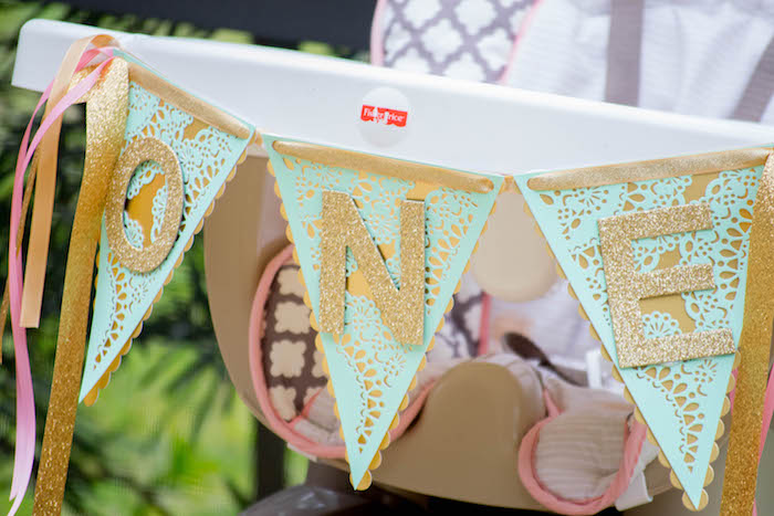 Highchair Banner from a Mint, Pink + Gold Birthday Party via Kara's Party Ideas KarasPartyIdeas.com (36)
