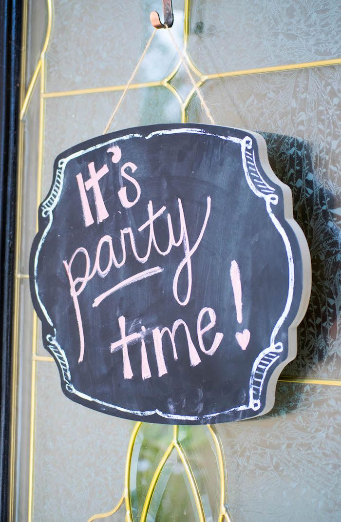 Chalkboard Door Hanger from a Mint, Pink + Gold Birthday Party via Kara's Party Ideas KarasPartyIdeas.com (35)