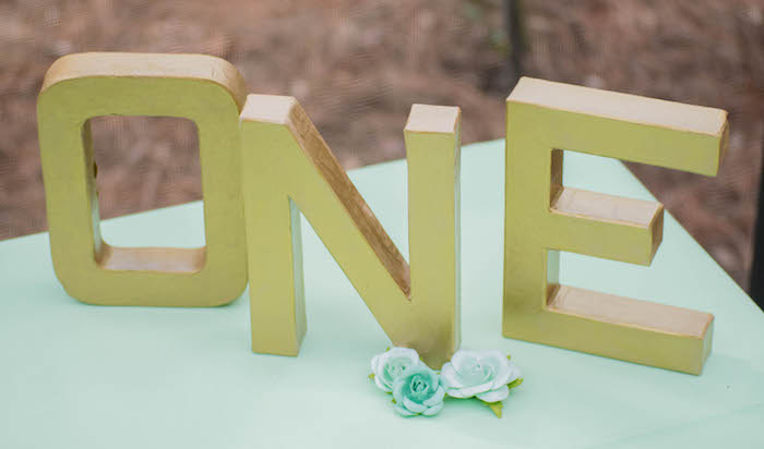 Letter Sign from a Mint, Pink + Gold Birthday Party via Kara's Party Ideas KarasPartyIdeas.com (30)