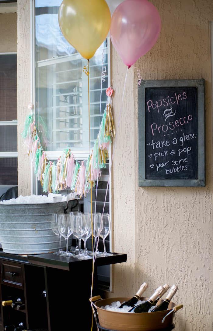 Drink Bar from a Mint, Pink + Gold Birthday Party via Kara's Party Ideas KarasPartyIdeas.com (20)
