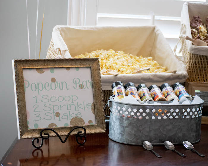 Popcorn Bar from a Mint, Pink + Gold Birthday Party via Kara's Party Ideas KarasPartyIdeas.com (12)