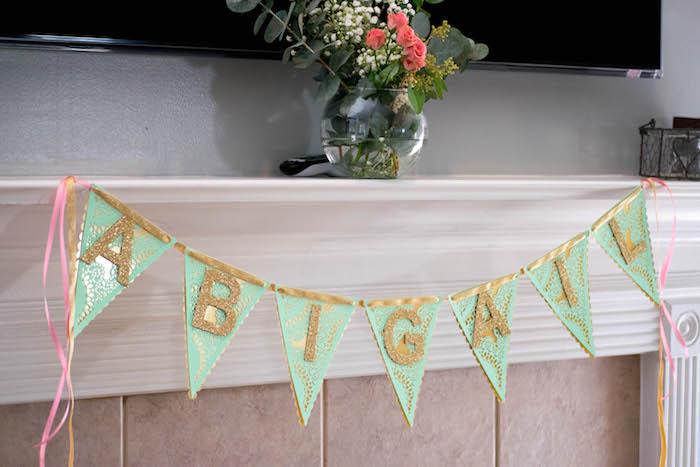Banner + Decor from a Mint, Pink + Gold Birthday Party via Kara's Party Ideas KarasPartyIdeas.com (7)