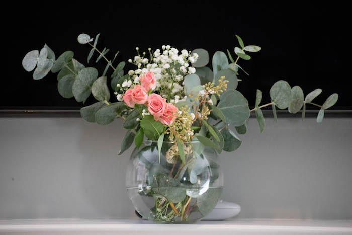 Floral Arrangement from a Mint, Pink + Gold Birthday Party via Kara's Party Ideas KarasPartyIdeas.com (6)