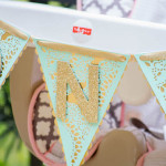 High Chair Banner from a Mint, Pink + Gold Birthday Party via Kara's Party Ideas KarasPartyIdeas.com (1)