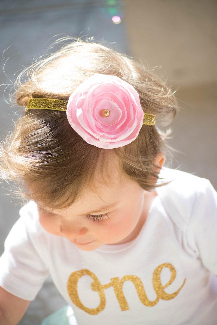 Birthday Girl's Headband from a Mint, Pink + Gold Birthday Party via Kara's Party Ideas KarasPartyIdeas.com (54)