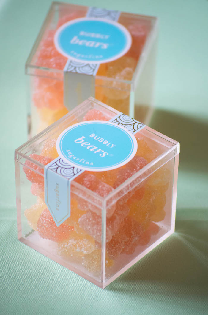 Bubbly Bear filled Favor Boxes from a Mint, Pink + Gold Birthday Party via Kara's Party Ideas KarasPartyIdeas.com (53)
