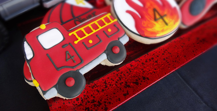 Cookies from a Modern Firefighter Birthday Party via Kara's Party Ideas | KarasPartyIdeas.com (2)