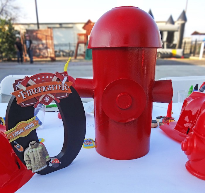 Guest Table Centerpieces from a Modern Firefighter Birthday Party via Kara's Party Ideas | KarasPartyIdeas.com (12)