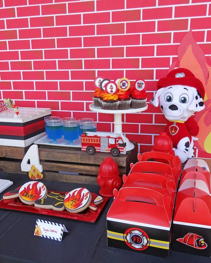Sweet Table Details from a Modern Firefighter Birthday Party via Kara's Party Ideas | KarasPartyIdeas.com (10)