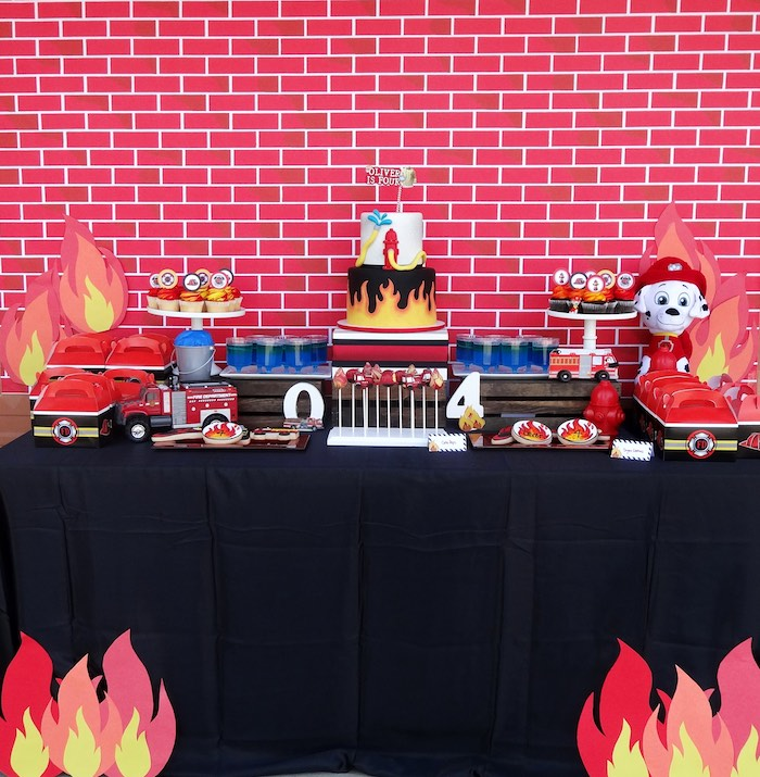 Dessert Table from a Modern Firefighter Birthday Party via Kara's Party Ideas | KarasPartyIdeas.com (5)