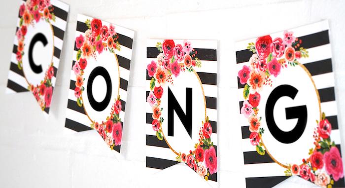 Banner from a Modern Floral Graduation Party via Kara's Party Ideas - KarasPartyIdeas.com (1)