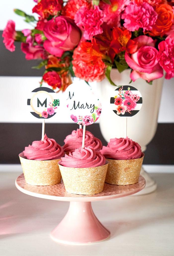 Cupcakes from a Modern Floral Graduation Party via Kara's Party Ideas - KarasPartyIdeas.com (9)