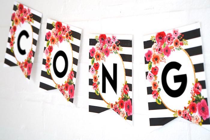 Banner from a Modern Floral Graduation Party via Kara's Party Ideas - KarasPartyIdeas.com (7)