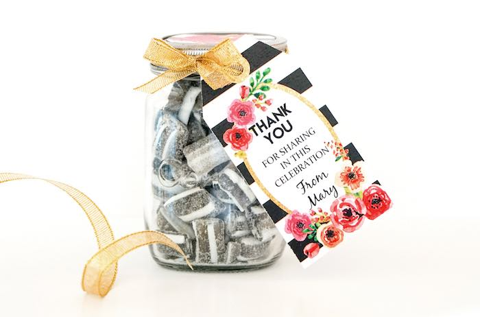 Favor Jar from a Modern Floral Graduation Party via Kara's Party Ideas - KarasPartyIdeas.com (6)