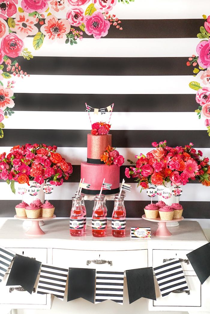 Dessert + Sweet Table from a Modern Floral Graduation Party via Kara's Party Ideas - KarasPartyIdeas.com (3)