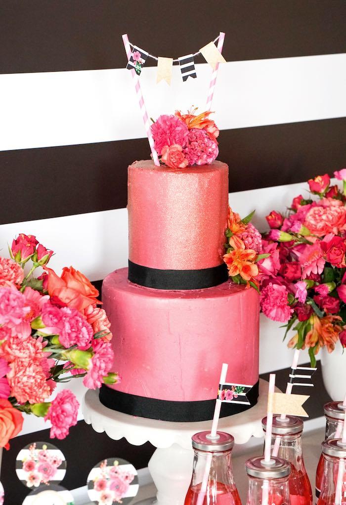 Cake from a Modern Floral Graduation Party via Kara's Party Ideas - KarasPartyIdeas.com (2)