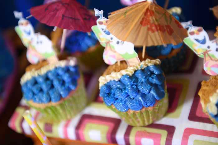 Cupcakes from an Olaf's Tropical Summer Birthday Party via Kara's Party Ideas | KarasPartyIdeas.com | The Place for All Things Party! (12)