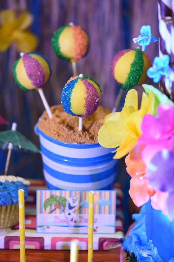 Beach Ball Cake Pops from an Olaf's Tropical Summer Birthday Party via Kara's Party Ideas | KarasPartyIdeas.com | The Place for All Things Party! (11)