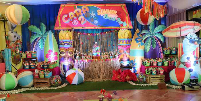 Party Setup from an Olaf's Tropical Summer Birthday Party via Kara's Party Ideas | KarasPartyIdeas.com | The Place for All Things Party! (2)