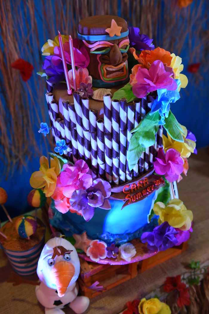 Cake from an Olaf's Tropical Summer Birthday Party via Kara's Party Ideas | KarasPartyIdeas.com | The Place for All Things Party! (23)