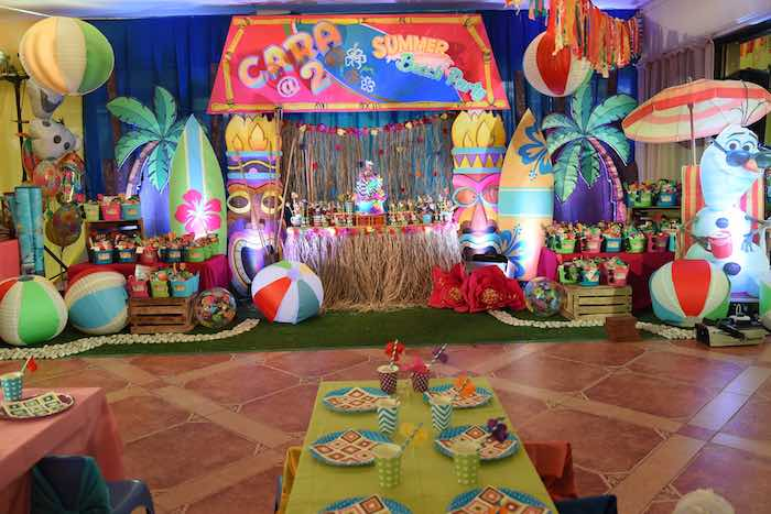 Party Setup from an Olaf's Tropical Summer Birthday Party via Kara's Party Ideas | KarasPartyIdeas.com | The Place for All Things Party! (20)